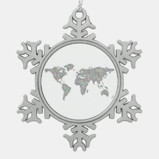 World map snowflake pewter christmas ornament