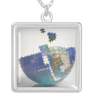 World Map, South America Silver Plated Necklace