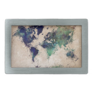 world map splash belt buckle