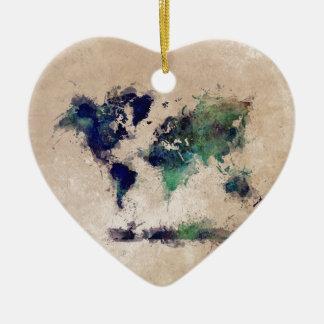 world map splash ceramic heart decoration