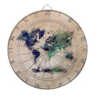 world map splash dartboard
