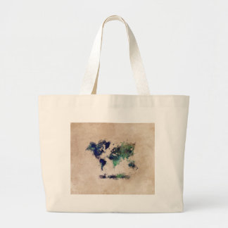 world map splash large tote bag