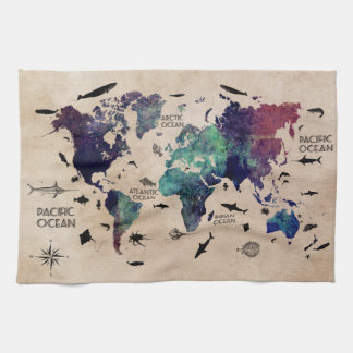 world map tea towel