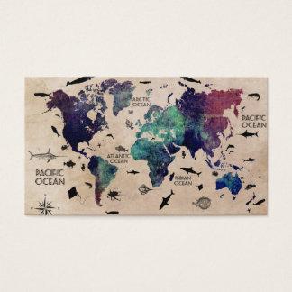world map text business card
