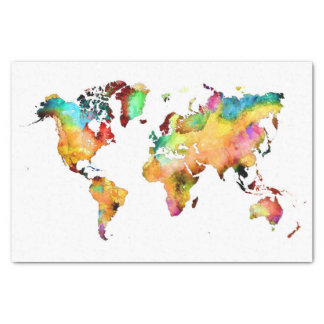 world map tissue paper
