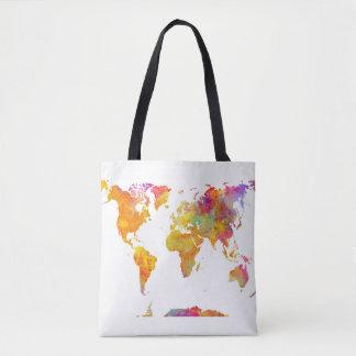 world map tote bag