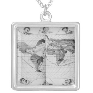 World map tracing Magellan's world voyage Silver Plated Necklace