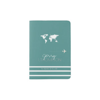 world map travel document / turquoise passport holder