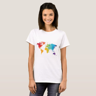 World Map Travel Shirt in Watercolor