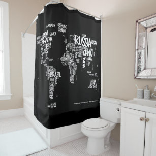 World Map Typography Shower Curtain Black White