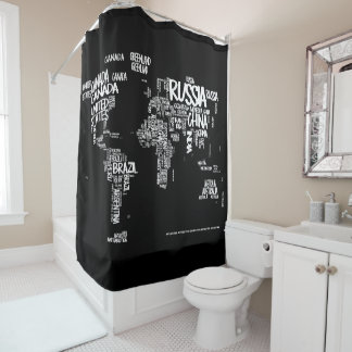 World Map Typography Shower Curtain, Black & White Shower Curtain