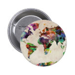 World Map Urban Watercolor 6 Cm Round Badge
