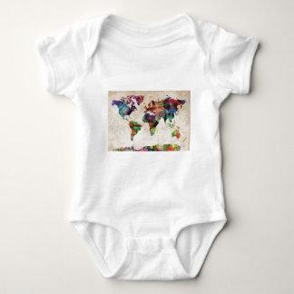 World Map Urban Watercolor Baby Bodysuit