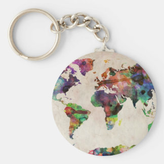 World Map Urban Watercolor Basic Round Button Key Ring