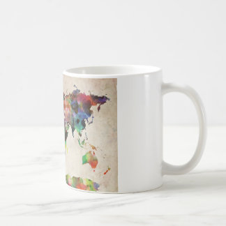 World Map Urban Watercolor Basic White Mug