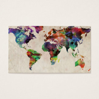 World Map Urban Watercolor Business Card