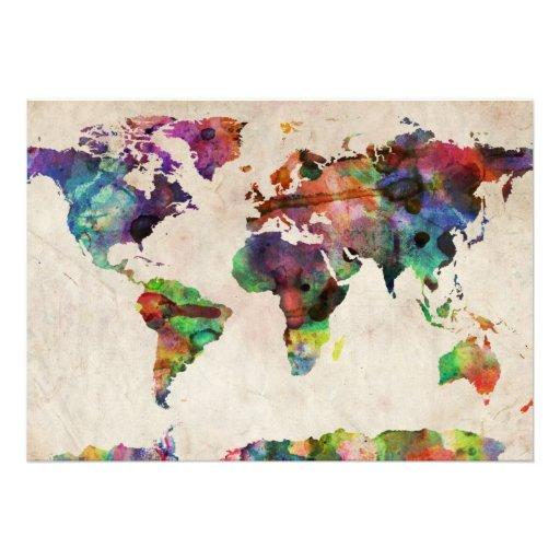 World Map Urban Watercolor Invitations