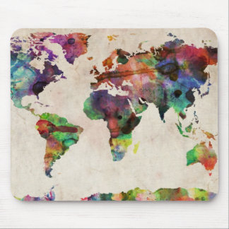 World Map Urban Watercolor Mouse Mat
