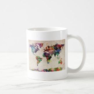 World Map Urban Watercolor Mugs