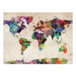 World Map Urban Watercolor Photograph