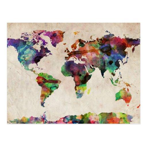 World Map Urban Watercolor Post Card