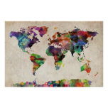 World Map Urban Watercolor Poster