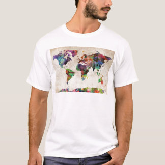 World Map Urban Watercolor T-Shirt