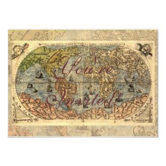 World Map Vintage Atlas Historical Continents Custom Invite