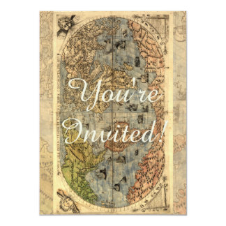 World Map Vintage Atlas Historical Continents Customized Announcement Cards