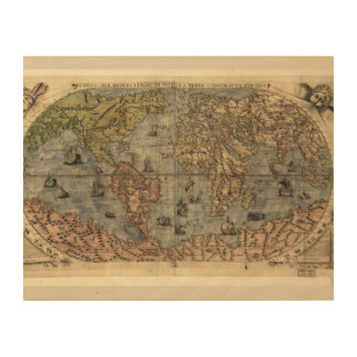 World map vintage wood wall decor