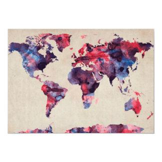 World Map Watercolor 13 Cm X 18 Cm Invitation Card