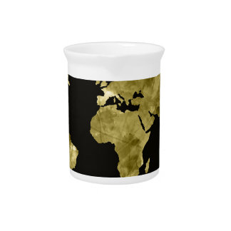 world map watercolor black beverage pitchers