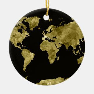 world map watercolor black round ceramic decoration
