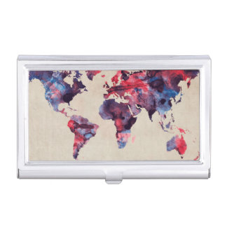 World Map Watercolor Business Card Cases
