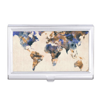 World Map Watercolor Business Card Holder
