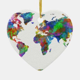world map watercolor ceramic heart decoration
