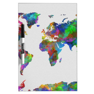 world map watercolor dry erase board