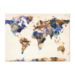 World Map Watercolor Gallery Wrap Canvas