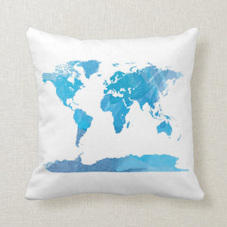 World Map Watercolor Painting Blue Art Cushion
