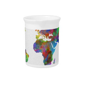 world map watercolor pitcher