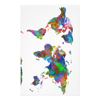 world map watercolor stationery