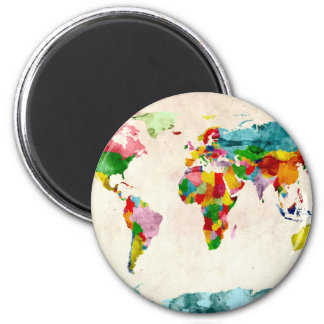 World Map Watercolors Magnet
