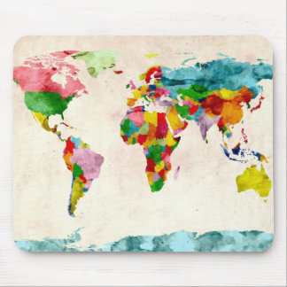 World Map Watercolors Mouse Mat