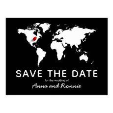 World Map Wedding Destination Save the Date