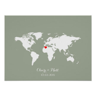world map wedding guest book signing board poster