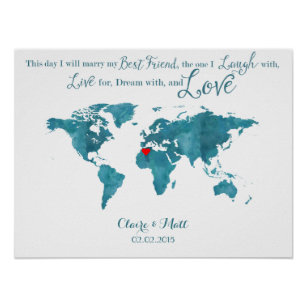 Wedding guestbook posters prints zazzle uk world map wedding guest book signing board teal gumiabroncs Images