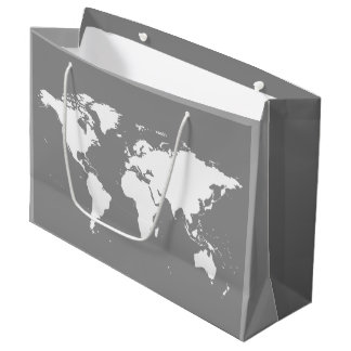 WORLD MAP (WHITE AND CHARCOAL GRAY) Large Gift Bag