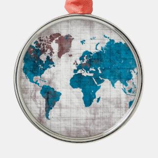 world map white blue christmas ornament
