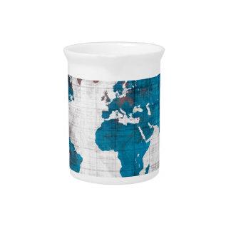 world map white blue pitcher