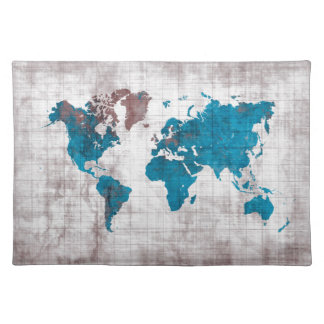 world map white blue placemat